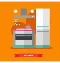 Modern kitchen interior in vector image