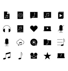 music audio silhouette icons set pictograms vector image