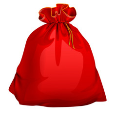 red tied closed full santa bag with gifts vector image vector image