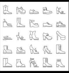 shoes footwear outline line stroke icons vector image