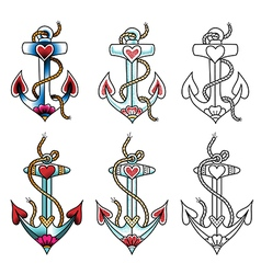 tattoo anchor dot vector image vector image