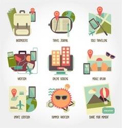 Traveling flat design icon set vector image