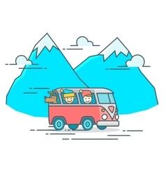 Camper Van in the mountain vector image