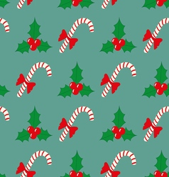 Christmas seamless pattern with berries and vector image