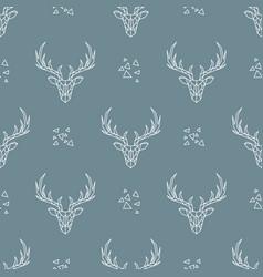 deer pattern on dark blue background seamless vector image