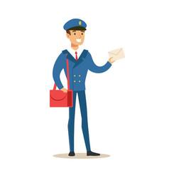 postman in blue uniform delivering mail holding a vector image