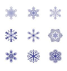 Set of nine snowflake flat icons 2 vector image vector image
