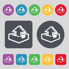 Upload icon sign A set of 12 colored buttons Flat vector image vector image