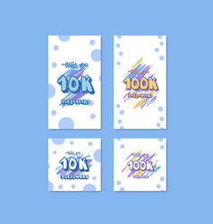 10k and 100k followers thank you cards vector
