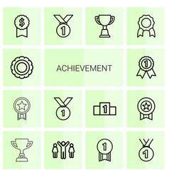 14 achievement icons vector