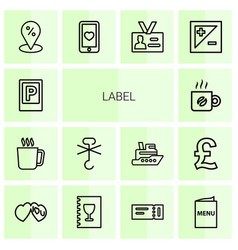 14 label icons vector image