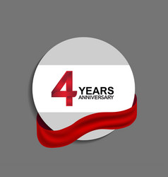 4 years anniversary design in circle red ribbon vector