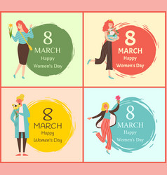 8 march greetings women holding bouquet vector image