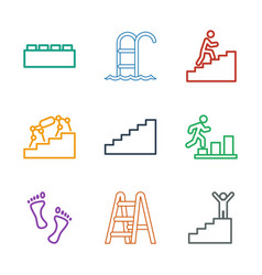 9 step icons vector image