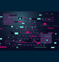 Abstract glitch style background glitched vector
