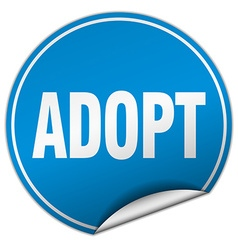 Adopt round blue sticker isolated on white vector