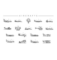 aircrafts concept line style icons set vector image
