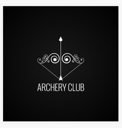 archery bow and arrow logo design background vector image