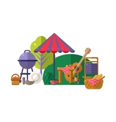 Barbeque In Park Items Collection vector image