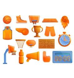 basketball equipment icons set cartoon style vector image