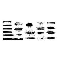 Big collection black paint ink brush strokes vector
