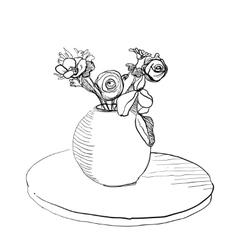 Bouquet flowers in vase vector