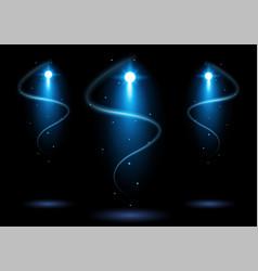 bright blue stadium arena lighting spotlight vector image