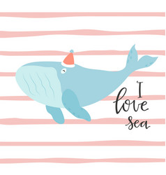 bright card with whale in hat vector image