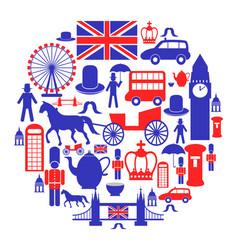 british icons set in circle vector image