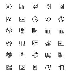 Business charts line icons 4 vector