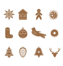cartoon cookies christmas gingerbread set icon vector image