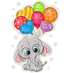 cartoon elephant with balloons on white background vector image