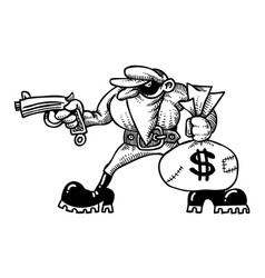 Cartoon image of burglar with loot bag vector
