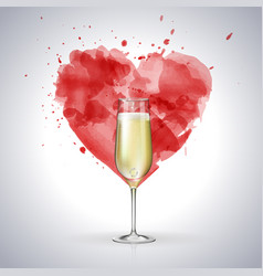 champagne glass on watercolor heart background vector image