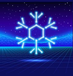 Christmas card with 80s neon snowflake vector