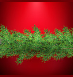 christmas holiday border with realistic fir tree vector image