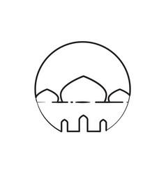 circular outline mosque custom symbol graphic vector image