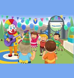clown at a kids birthday party vector image