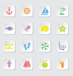 colorful flat icon set 9 rounded rectangle button vector image