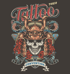 Colorful tattoo festival advertising poster vector