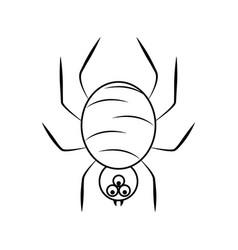 creepy spider cartoon line icon style vector image