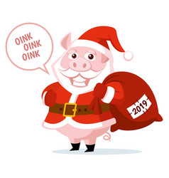 cute funny cartoon santa claus pig vector image