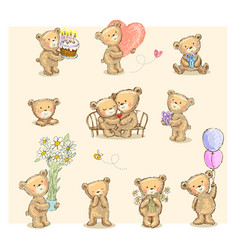 cute little bears vector image