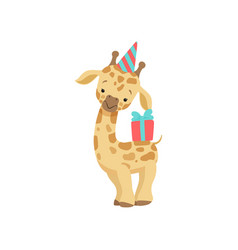 Cute little giraffe in party hat with gift box vector