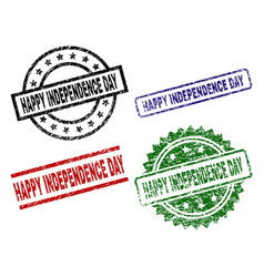damaged textured happy independence day seal vector image