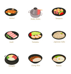 Different asian food icons set cartoon style vector