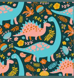 dino collage grunge prehistoric animals seamless p vector image