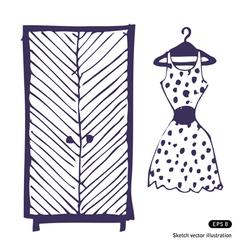 Dress and wardrobe vector image
