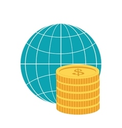 earth globe diagram and coins icon vector image