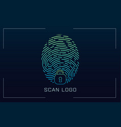 fingerprint scanning identification system in vector image